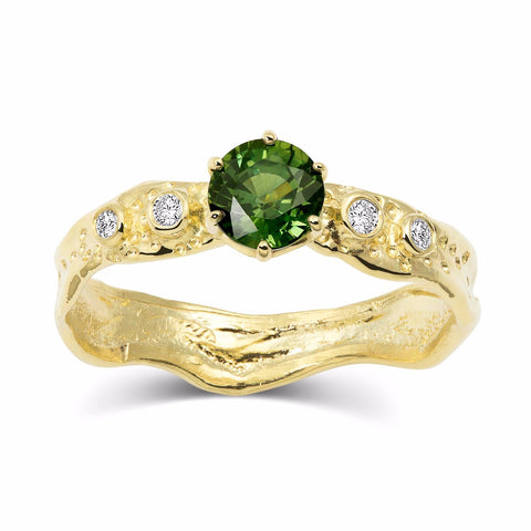Kristen Baird Yellow Gold Alternative Engagement Ring with Green Sapphire and Diamonds