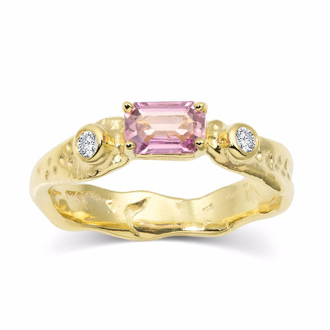 Alternative Engagement Ring by Kristen Baird Pink Sapphire 18k recycled yellow gold eco-luxury Ring