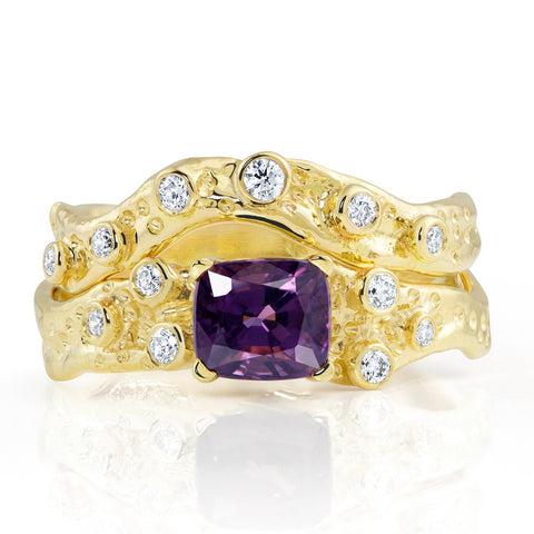 Kristen Baird Yellow Gold Alternative Engagement Wedding Band Violet Spinel and Diamond Ring Pansy Petal