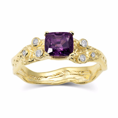 Kristen Baird Yellow Gold Alternative Wedding Band Violet Spinel and Diamond Ring Pansy Petal