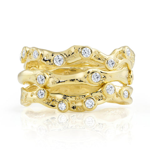 Kristen Baird Yellow Gold Alternative Wedding Band Stacking Rings Stack
