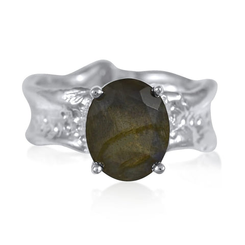 Ripple Ring Builder 9x11mm Oval Cut Labradorite by Kristen Baird®