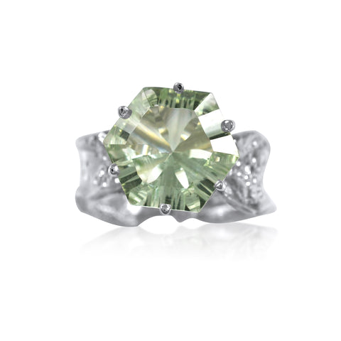Ripple Ring Builder - 12mm Hexagon Cut Green Amethyst by Kristen Baird®.jpg