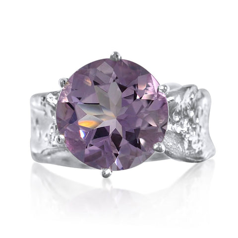 Ripple Ring 12mm Round Cut Pink Amethyst Ring by Kristen Baird®