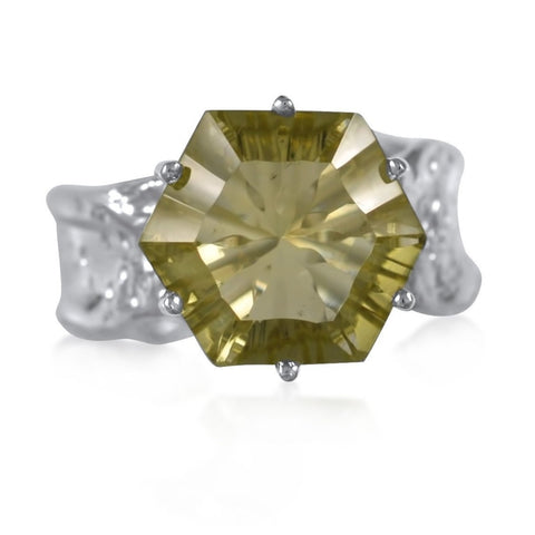 Ripple Ring Builder 12mm Hexagon Cut_Lemon Quartz_by Kristen Baird®
