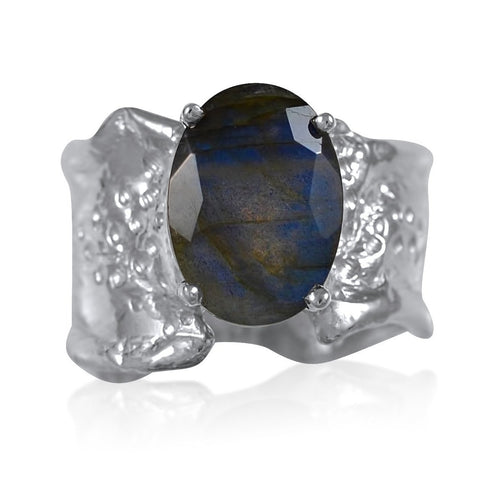 Ripple Ring Builder 10x12 Oval Cut Labradorite by Kristen Baird®