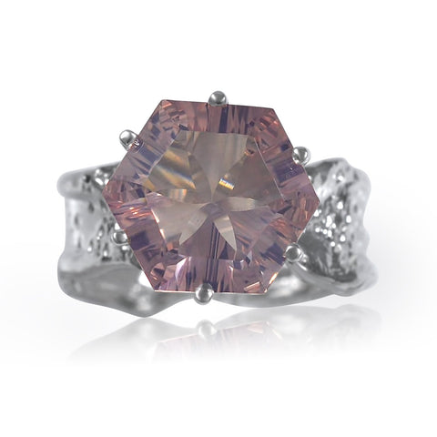 Ripple Ring Builder - 12mm Hexagon Cut Pink Amethyst by Kristen Baird®.jpg