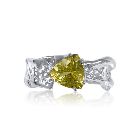 Ripple Ring Builder - 8mm Trillion Cut Lemon Quartz_by Kristen Baird®