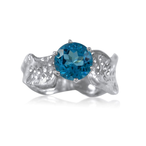 Ripple Ring Builder - 8mm Round Cut Blue Topaz - by Kristen Baird®