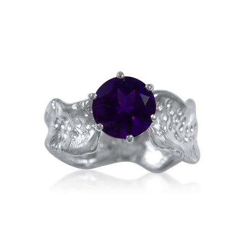 Ripple Ring Builder - 8mm Round Cut African Amethyst_by Kristen Baird®