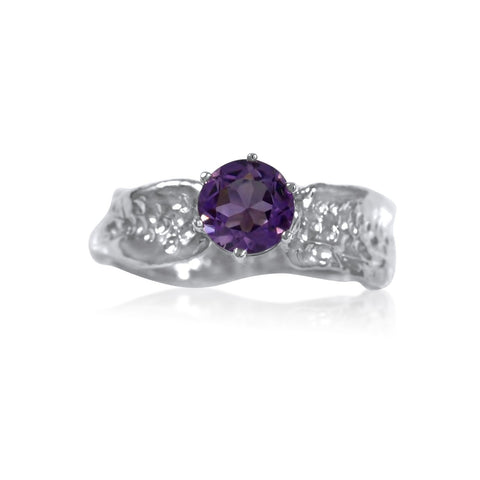 Ripple Ring Builder - 6mm Round Cut Amethyst_by Kristen Baird®