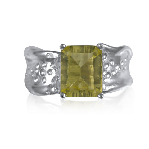 Ripple Ring Builder 8x10mm Emerald Cut_Lemon Quartz_by Kristen Baird®