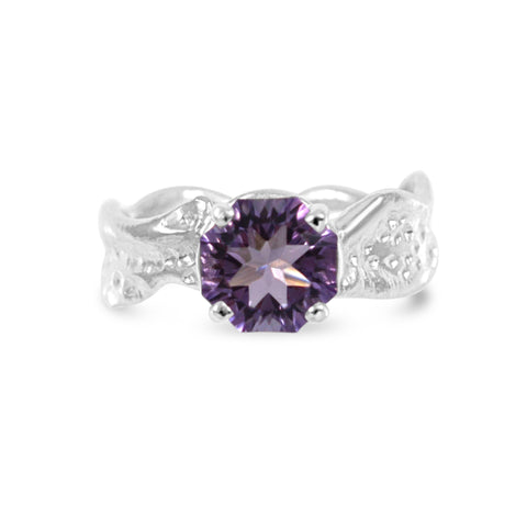 Kristen Baird Amethyst Octagon Cut Ripple Ring, sterling silver jewelry