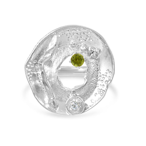 Pond - Peridot and White Topaz