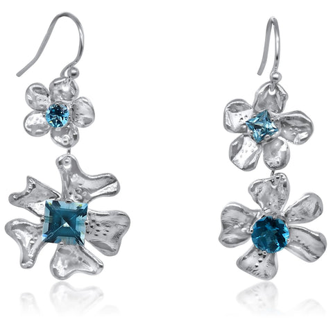 Deux-Fleur de Cerisier Gem Earrings with Blue Topaz_Kristen Baird®