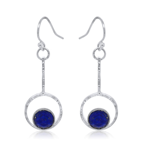 Drop Earrings with Lapis Cabochon_Kristen Baird®