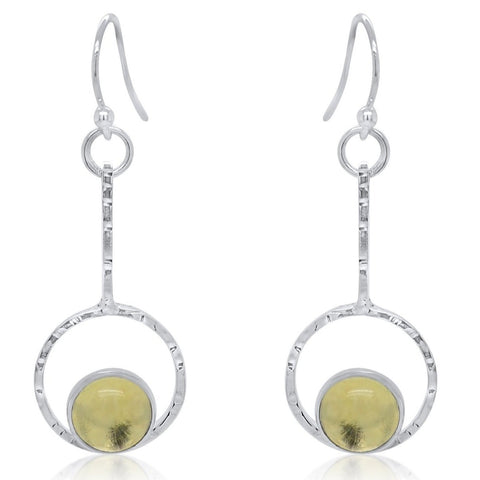 Drop Earrings with Lemon Quartz Cabochon_Kristen Baird®