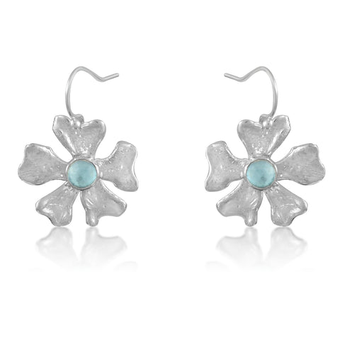 Fleur de Cerisier Grand Earrings_Blue Quartz Cab_by Kristen Baird Jewelry