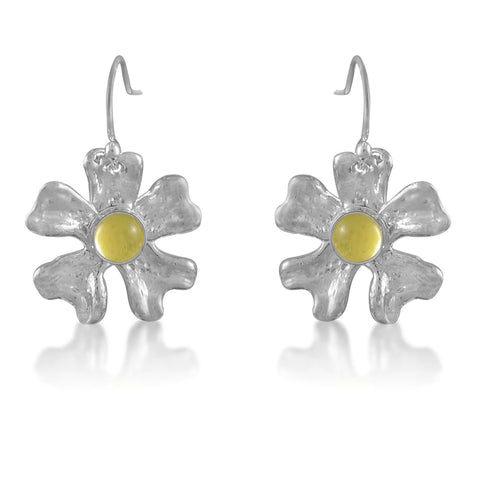 Fleur de Cerisier Grand Earrings_Lemon Quartz Cab_by Kristen Baird Jewelry