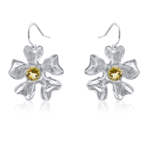 Fleur de Cerisier Grand Earrings_Lemon Quartz Prong Set_by Kristen Baird Jewelry