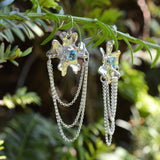 Fleur de Cerisier Grand Fringe Earrings Swiss Blue Topaz by Kristen Baird®