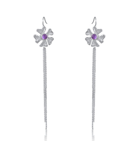 Fleur de Cerisier Long Fringe Earrings
