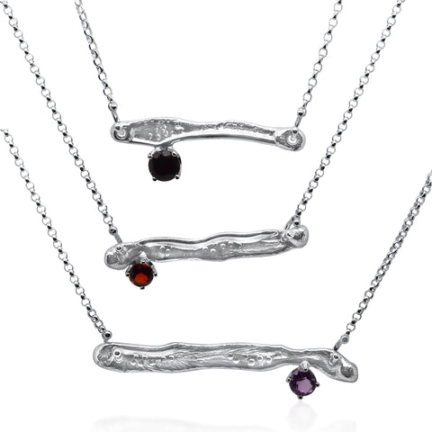 Gem Bar Necklace Trio_Onyx, Garnet, Amethyst_Kristen Baird®
