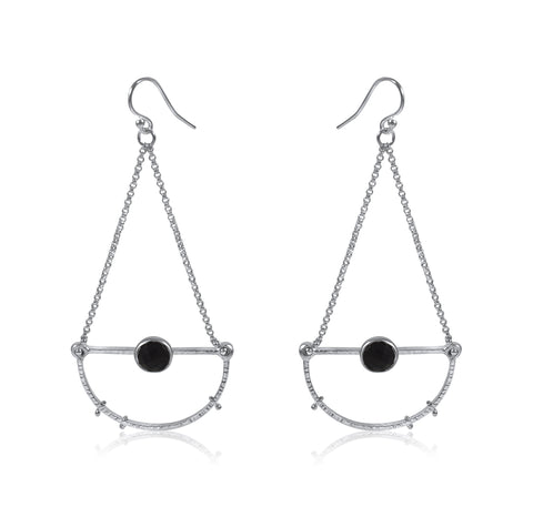 Half Moon Earrings Medium - Onyx - By Kristen Baird® Jewelry