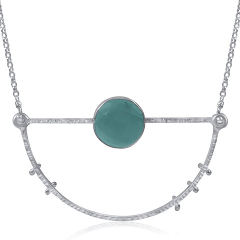 Half Moon Necklace Large - Peru Chalcedony - by Kristen Baird® Jewelry