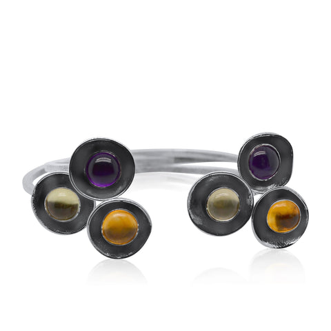 Hammered Gem Bangle Trio_Amethyst, Lemon Quartz, Citrine_Kristen Baird®
