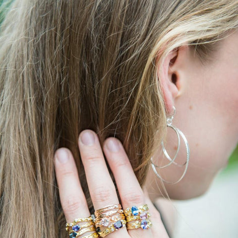 Kristen Baird rocking her Large Lunar Ring Hoops