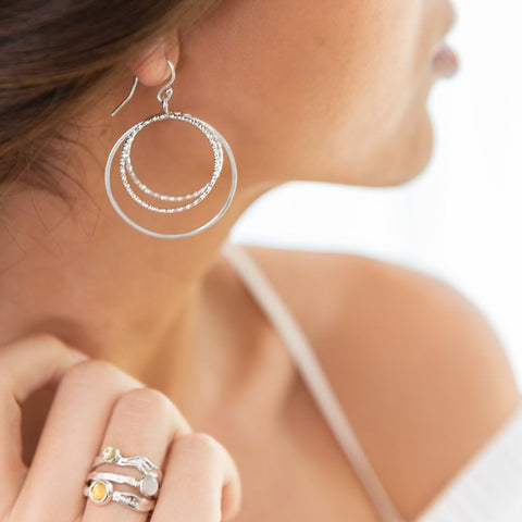 Lunar Ring Hoops on Model_Celestial Collection_Kristen Baird®