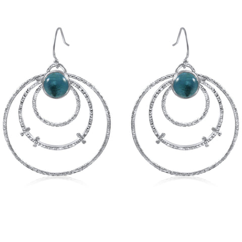 Medium Orbit Earrings Blue Topaz by Kristen Baird®