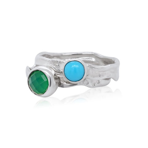 Mini Ripple Ring_Turquoise_Green Onyx_Kristen Baird®