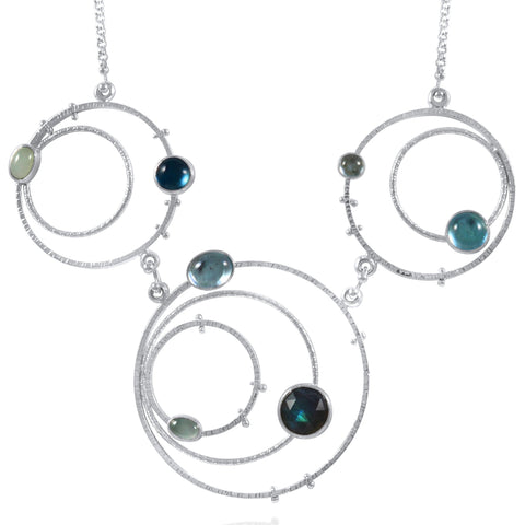 Orbit Necklace Statement - Blues - by Kristen Baird®