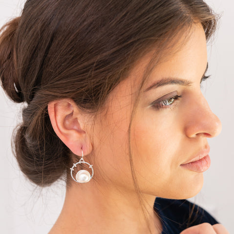 Pearl Horizon Earrings by Kristen Baird