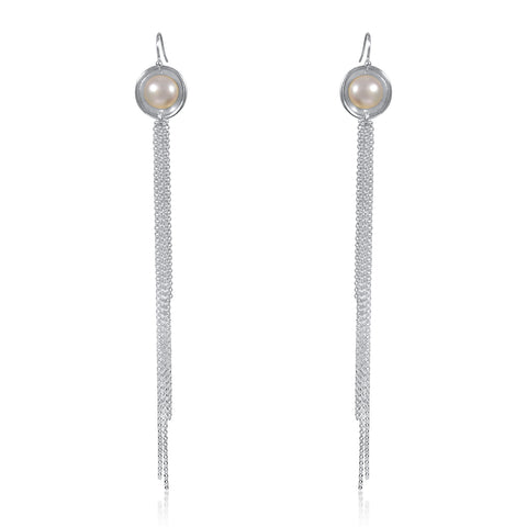 Pearl Long Fringe Earrings by Kristen Baird®
