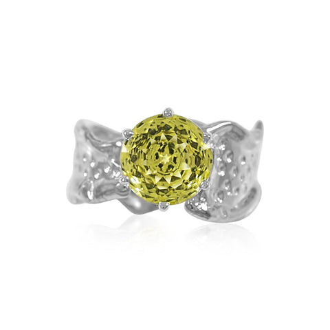 Ripple Ring 10mm Round Cut Lemon Quartz Ring by Kristen Baird