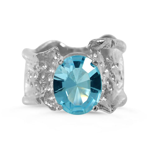 Ripple Ring 10x12mm Oval Cut Blue Topaz Ring by Kristen Baird