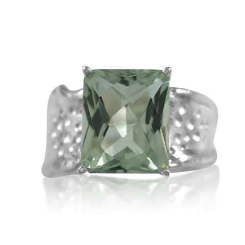 Ripple Ring Builder 10x12 Emerald Cut Green Amethyst by Kristen Baird®