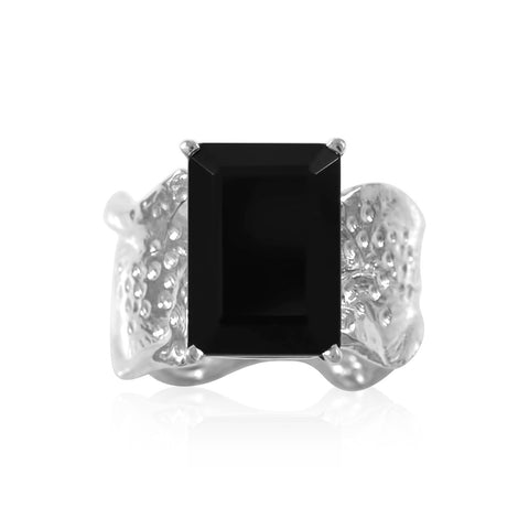Ripple Ring 10x14mm Emerald Cut Onyx Ring by Kristen Baird