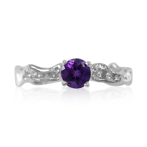 Ripple Ring 5mm Round Cut Amethyst by Kristen Baird