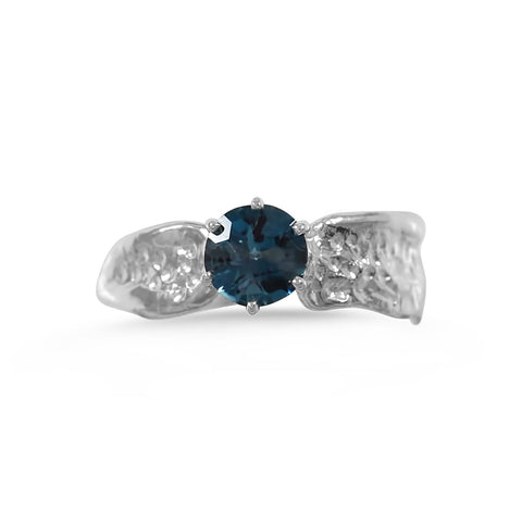 Ripple Ring_6mm Round Cut Blue Topaz_by Kristen Baird®