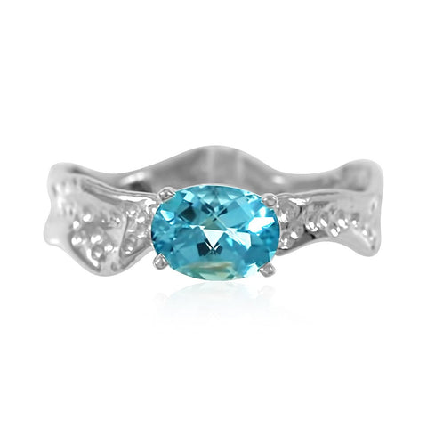 Ripple Ring 6x8mm EW Oval Cut Blue Topaz Ring by Kristen Baird