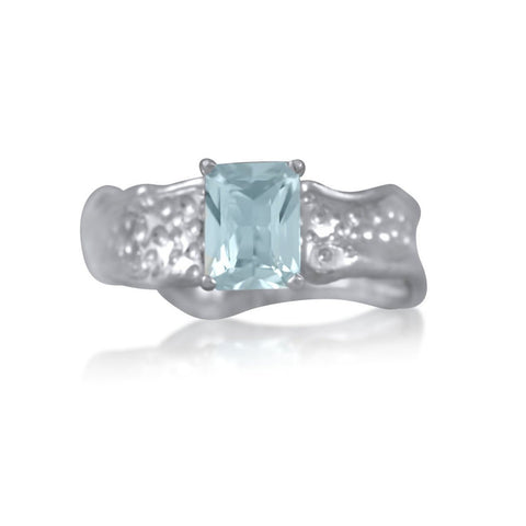 Ripple Ring Builder 6x8mm Emerald Cut Aquamarine by Kristen Baird®