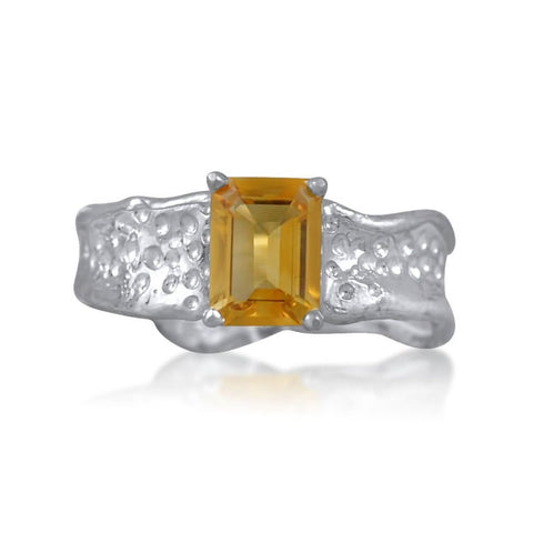 Ripple Ring Builder 6x8mm Emerald Cut Citrine by Kristen Baird®