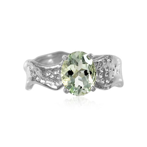 Ripple Ring 7x9mm Oval Cut Green Amethyst Ring by Kristen Baird