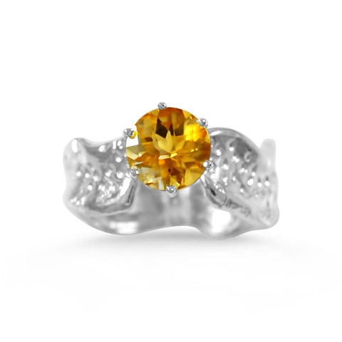 Ripple Ring Builder_8mm Round Cut Citrine_by Kristen Baird®