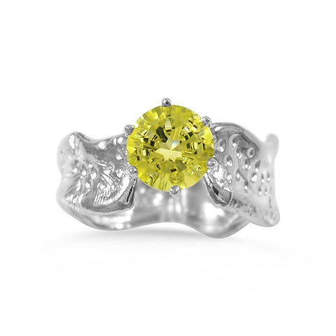 Ripple Ring Builder_8mm Round Cut Lemon Quartz_by Kristen Baird®