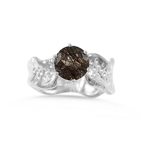 Ripple Ring Builder_8mm Round Cut Rutilated Quartz_by Kristen Baird®